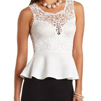 Lace and Crochet Peplum Top by Charlotte Russe - Ivory