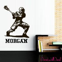 Wall Decal Lacrosse Helmet Personalized Custom Name Sport Player Kids Children Room Teens Kids Teen Mural Sticker Decor Art Gift Dorm Bedroom M1629