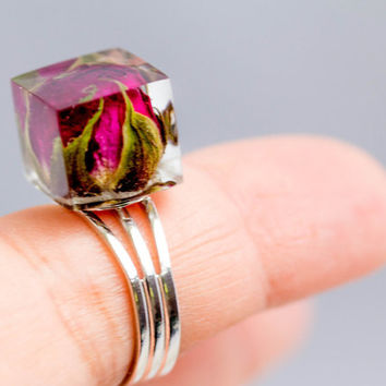 Resin Ring Rosebud,  dark pink rosebud, silver Ring real rose flower, jewelry for woman, real dark pink rosebud, resin rose ring