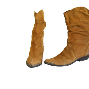 Women Cowboy Boot 8.5 Cowgirl Boot Slouchy Boot Slouch Boot Zodiac Boot Bohemian Boot Boho Boot Brown Leather Boot Western Boot Pull On Boot