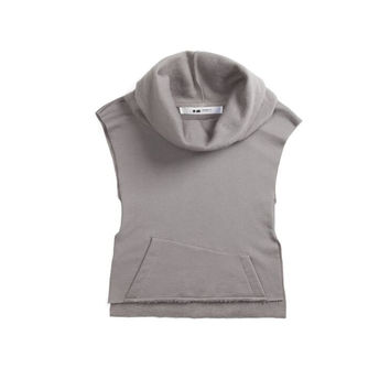 Sweatshirt vest with cowl neck and raw finish GREY