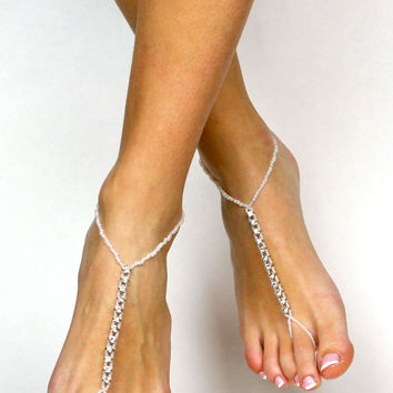Rhinestone and White Beads Barefoot Sandals