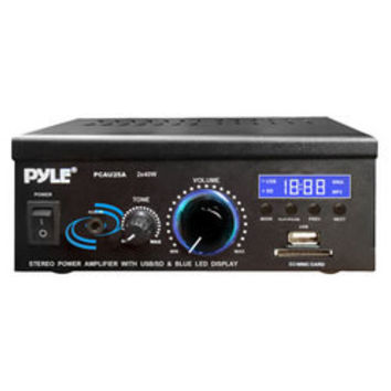 Mini 2x40 Watt Stereo Power Amplifier with USB/SD Card Readers, AUX/CD Inputs & LED Display