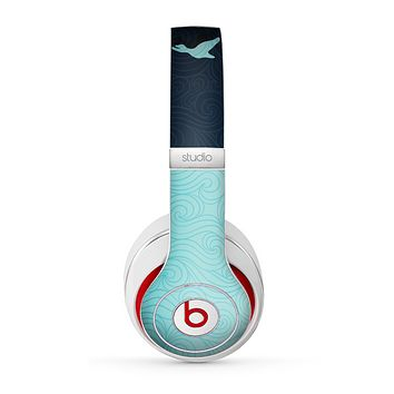 The Abstract Swirled Two Toned Green with Birds Skin for the Beats by Dre Studio (2013+ Version) Headphones