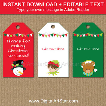 Printable Christmas Tags - EDITABLE Christmas Party Favor Tags - Christmas Gift Tags - Holiday Tags - Instant Download Holiday Hang Tags C2