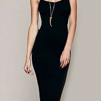 Black Spaghetti Strap Bodycon Dress