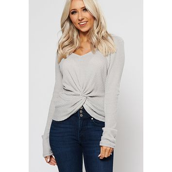 Out Of Here Knot Front Top (Heather Grey)