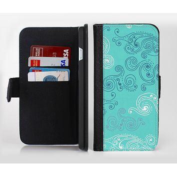 The Blue Swirled Abstract Design Ink-Fuzed Leather Folding Wallet Credit-Card Case for the Apple iPhone 6/6s, 6/6s Plus, 5/5s and 5c