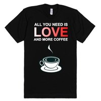 Love And Coffee-Unisex Black T-Shirt