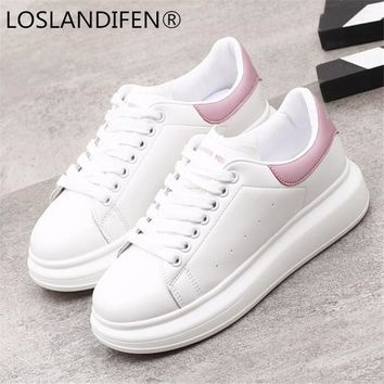 8d68fe49f2c8 2018 Spring New Designer Wedges White Shoes Female Platform Snea