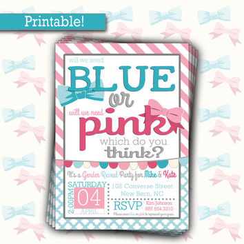 Gender Reveal Party Invitation | Blue or Pink Custom Invite