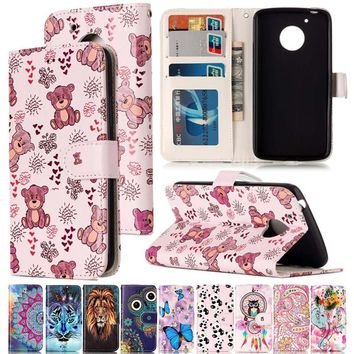Varnish Relief Leather Case For Motorola G5 Cover Leather Flip Wallet Phone Case For MOTO G5 Mobile Phone Shell