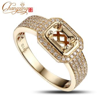 4x6mm Oval 14k Yellow Gold Diamond Semi Mount Engagement Ring Setting