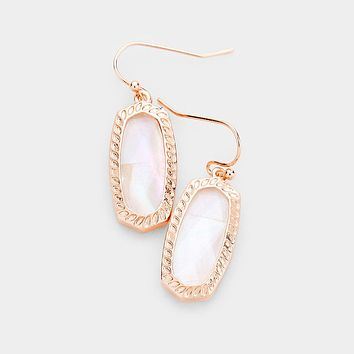 Mother Of Pearl Hexagon Embossed Metal Dangle Earrings