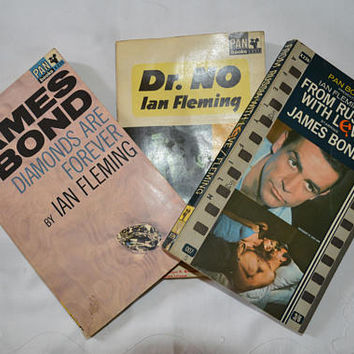 3 x vintage James Bond books/paperback 1960s/ Fathers Day gift/ships worldwide