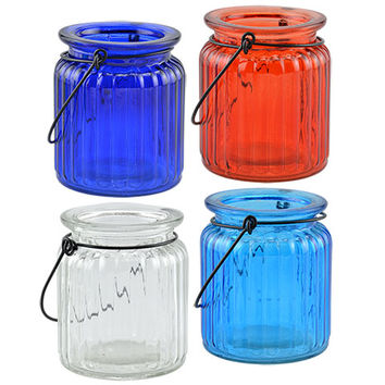 Bulk Old-Fashioned Tinted Glass Jars with Wire Handles at DollarTree.com