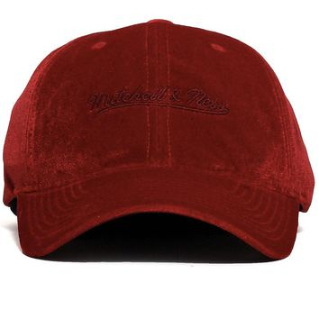 Velour Slouch Strapback Hat Red