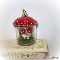 Miniature Red Mushroom Garden Terrarium Hand Sculpted 3D Scene Pendant with Silvertoned Findings