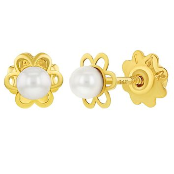 14k Yellow Gold Flower White Simulated Pearl Screw Back Toddlers Girls Earrings 2mm