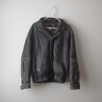 Vintage Distressed Leather Motorcycle Jacket