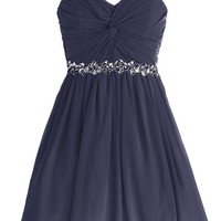 Dressystar Short Chiffon Bridesmaid Dresses Strapless Girls Prom Gowns Size 2 Navy