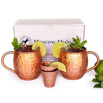 Moscow Mule Mugs Set of 2 Solid Hammered Copper Drinking Cups with Shot Glasses
