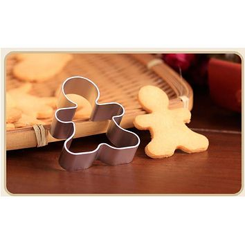 1pcs Christmas Cookie Cutter Tools Aluminium Alloy Gingerbread Men Shaped Holiday Biscuit Mold Kitchen cake Decorating Tools