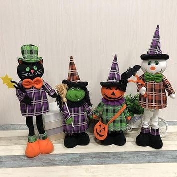 Halloween Ornaments Retractable Standing Toy Tall 40cm-50cm Black Cat Pumpkin Witch Ghost Dolls Halloween Party Home Decoration
