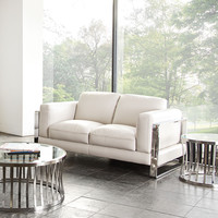 Annika Loveseat in Bone Air Leather with Polished Stainless Steel Arm by Diamond Sofa