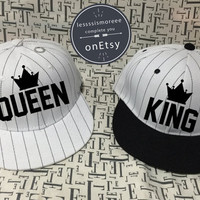 KING Queen Snapback Honeymoon Hat Wedding Hat couples Hats Baseball Hats King Hat Queen Hat Snapback set