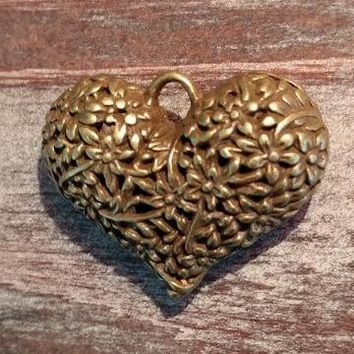 AB-923 - Antique Brass Puffed Heart Pendant With Flowers,33x40mm | Pkg 1