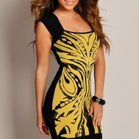 Sexy Black and Golden Abstract Knit Dress