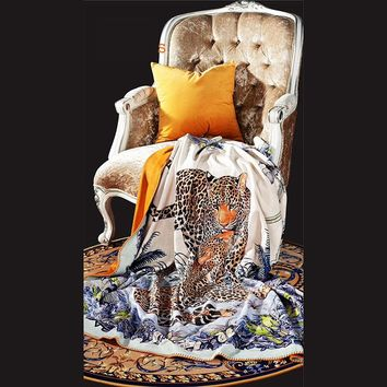 Brocade velvet Travel Throws Soft Blanket Animal Cow Skin Flower Print Sofa/Couch Bed/Plane Plaids Victoria TV Blanket