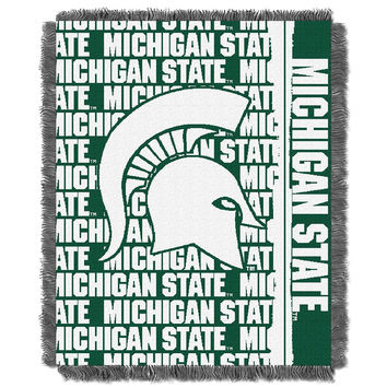 Michigan State Spartans NCAA Triple Woven Jacquard Throw (Double Play Series) (48x60)