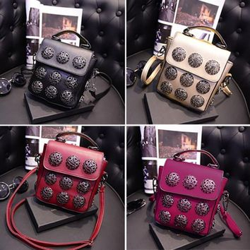 New Fashion Women Synthetic Leather Hollow Out Button Decorated Handbag/Shoulder Bag/Messenger Bag