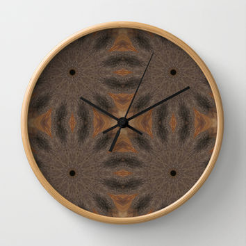Brown & Taupe Sunburst Flowers Wall Clock by 2sweet4words Designs | Society6