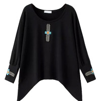 Black Embroidered Asymmetric Sweatshirt