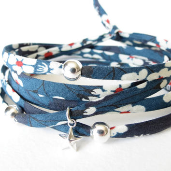 Liberty of London wrap bracelet with 925 Sterling silver beads and star charm, cobalt blue with flowers in white & red