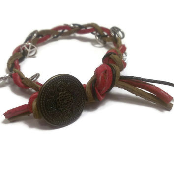 Suede Bracelet Peace sign Charm - proceeds to charity