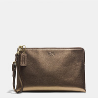 BLEECKER LARGE POUCH CLUTCH IN METALLIC LEATHER