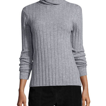 Ribbed Wool/Cashmere Turtleneck Sweater, Size: