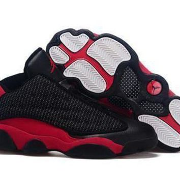 Cheap Air Jordan 13 Low Men Shoes Black Red White