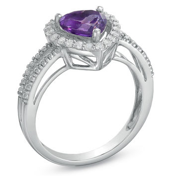 7.0mm Heart-Shaped Amethyst and Lab-Created White Sapphire Heart Frame Ring in Sterling Silver