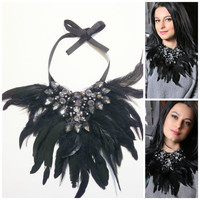 Beaded Statement Costume Necklace, One-of-a-kind,Black feathers