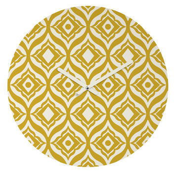 Heather Dutton Trevino Yellow Round Clock