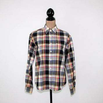 Plaid Shirt Womens Medium Large Cotton Western Wear Cowgirl Cruel Red White Blue Yellow Long Sleeve Button Up Shirt Womens Clothing
