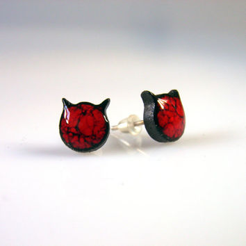 Red cat earrings Red earrings Small 10mm dark red studs ceramic post earring cat studs Sterling silver Original fun cute stud red devils