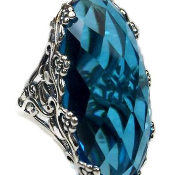 Swiss Topaz Flower Floral Filigree Sterling Silver Ring
