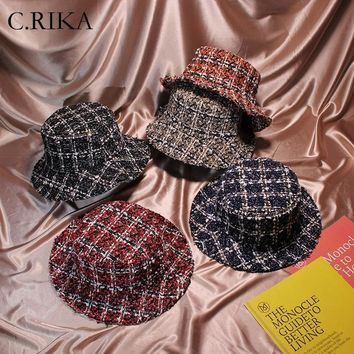 2018 Fashion Autumn Winter Women Tweed Hats Bucket Hat Caps Chic Plaid 5 Colors Fisherman Panama Knitted  Bucket Hat