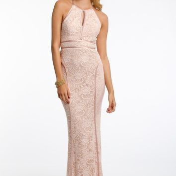 Keyhole Front Spliced Lace Dress